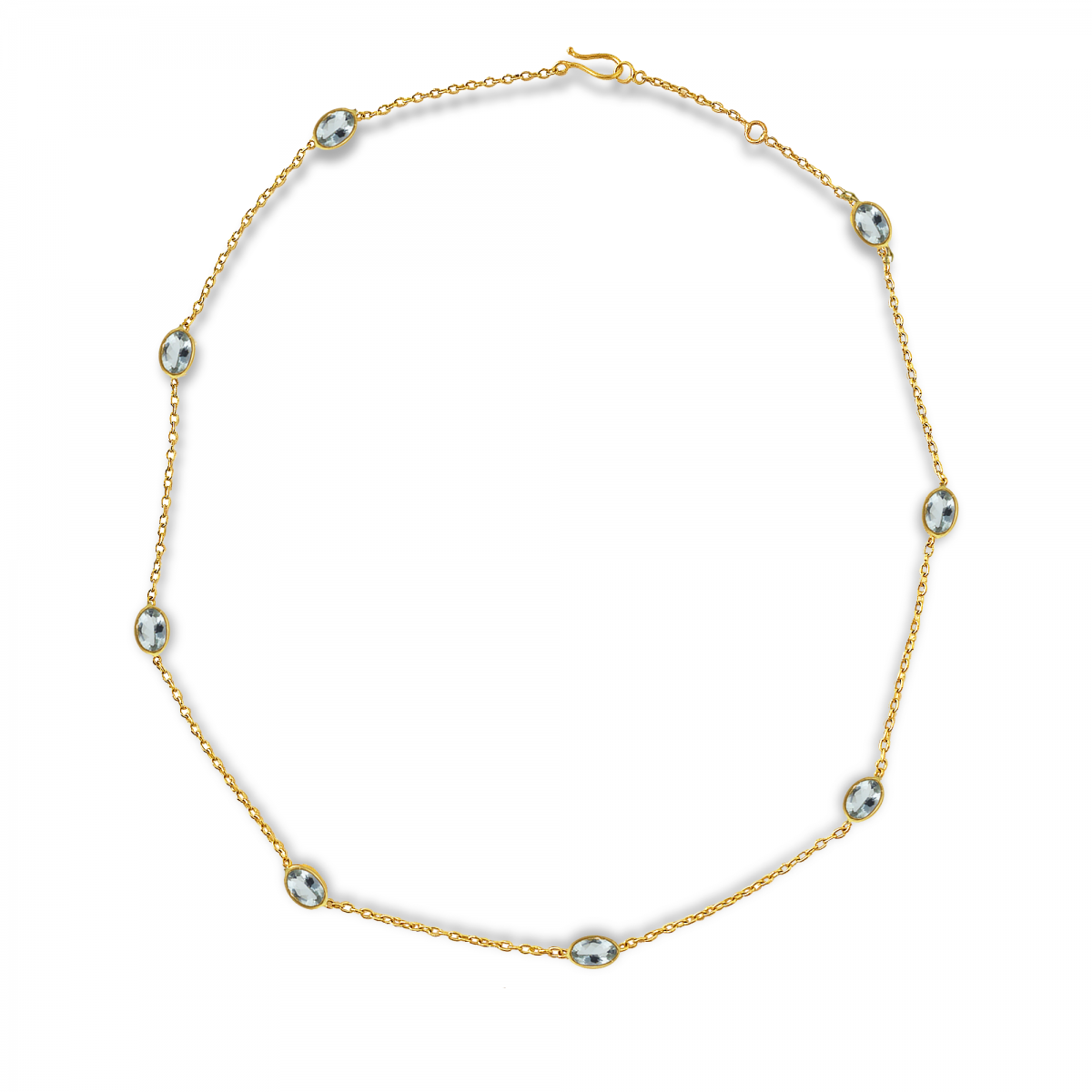 Aquamarine 22k Station Necklace