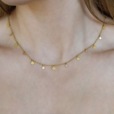Lotus 2 Tone Sequin 22k Necklace