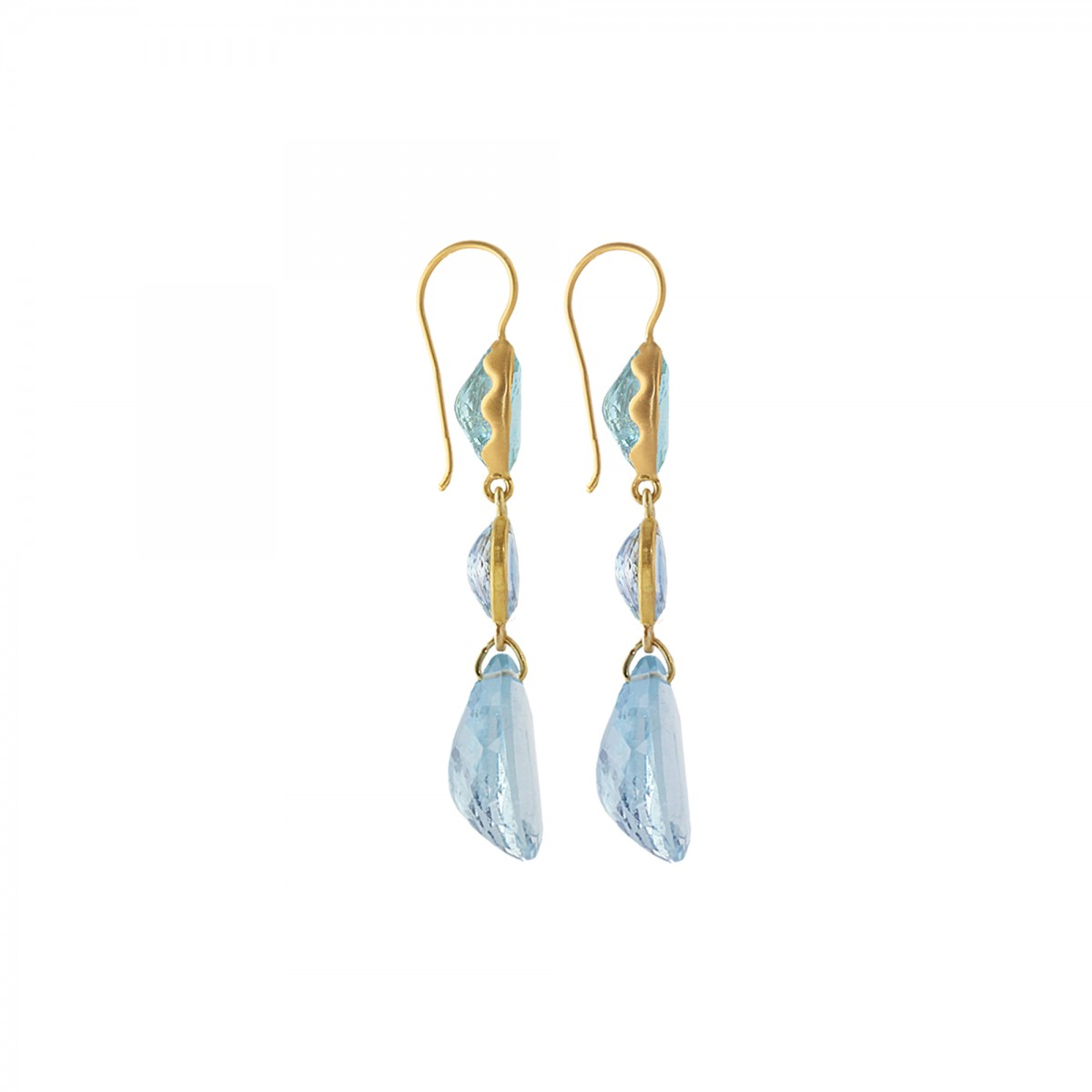 3 Stone Wave Earrings