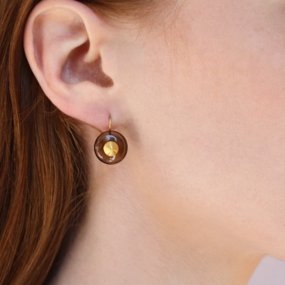 Brown  Bulls Eye Earrings